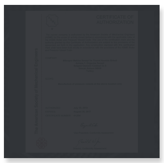ASME - Certificate of Authorization